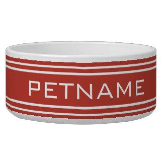 Tomato Red Stripes custom monogram pet bowls