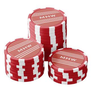 Tomato Red Stripes custom monogram poker chips