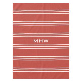 Tomato Red Stripes custom monogram table cloths