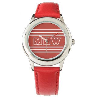 Tomato Red Stripes custom monogram watches