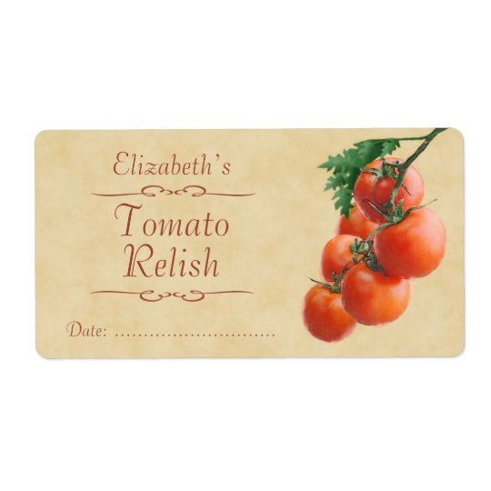 Tomato relish or canning shipping label