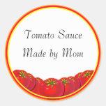 Tomato Sauce Custom Canning Labels Round Sticker