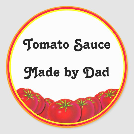 Tomato Sauce Personalizable Custom Canning Labels Round Sticker