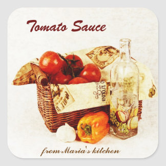 Tomato sauce - tomatoes in a basket square sticker
