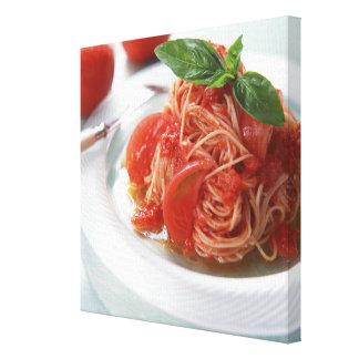 Tomato Spaghetti Stretched Canvas Print