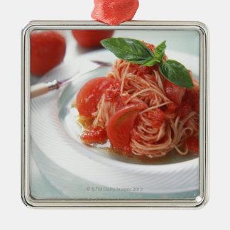 Tomato Spaghetti Silver-Colored Square Decoration