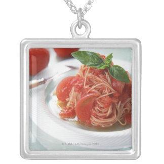 Tomato Spaghetti Square Pendant Necklace