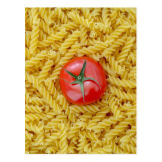 Tomato with fusilli pasta postcard