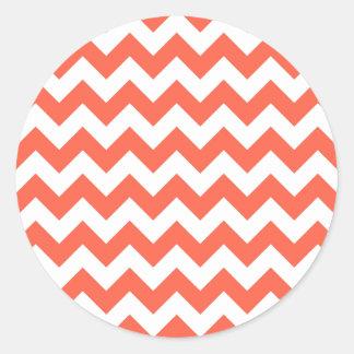 Tomato Zigzag Classic Round Sticker