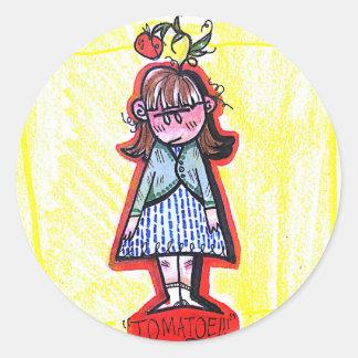 Tomatoe Girl Classic Round Sticker