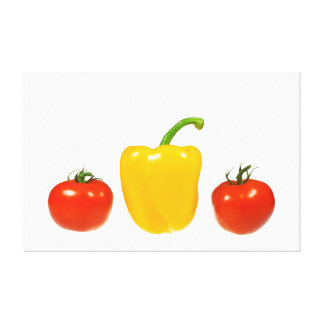 Tomatoes and pepper with white background canvas prints