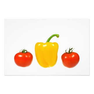 Tomatoes and pepper with white background photographic print