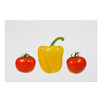Tomatoes and pepper with white background poster