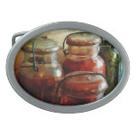 Tomatoes and String Beans in Canning Jars Oval Belt Buckle