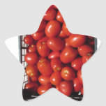 Tomatoes in box on white background star sticker