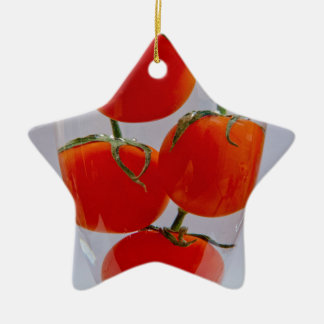 Tomatoes in glass of water christmas ornament