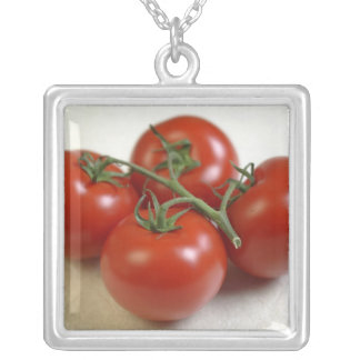Tomatoes on the vine For use in USA only.) Silver Plated Necklace