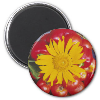Tomatoes, Red Pepper, Sunflower - Mixed Vegetables Refrigerator Magnet