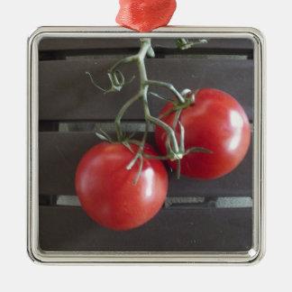 Tomatoes Silver-Colored Square Decoration
