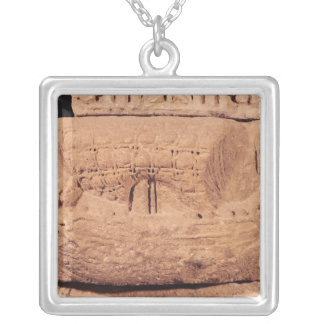 Tombstone depicting a fishing boat silver plated necklace