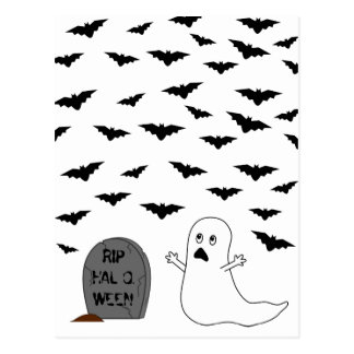 Tombstone, Ghost & Bats - Halloween Postcards