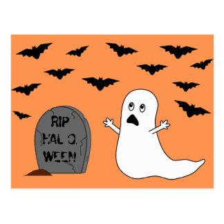 Tombstone, Ghost & Bats (Orange Background) Postcards