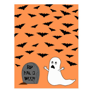 Tombstone, Ghost & Bats (Orange Background) Post Cards