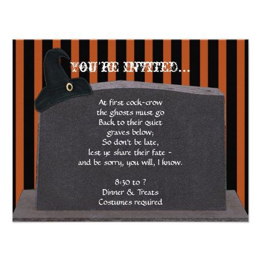 Tombstone on Black Orange Stripes Halloween Party Invitation