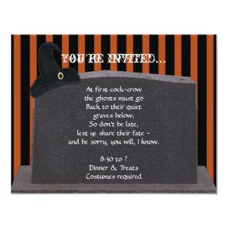 Tombstone on Black Orange Stripes Halloween Party 4.25x5.5 Paper Invitation Card