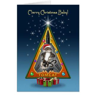 Tomcat Christmas Tree Greeting Card