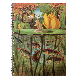 Tommelise very desolate on the water lily leaf, in notebooks