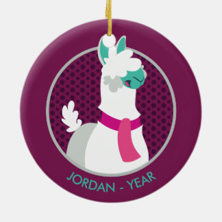 Tommy the Llama Round Ceramic Decoration