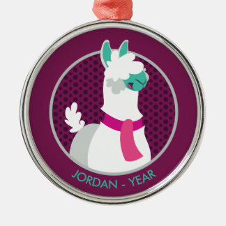 Tommy the Llama Silver-Colored Round Decoration