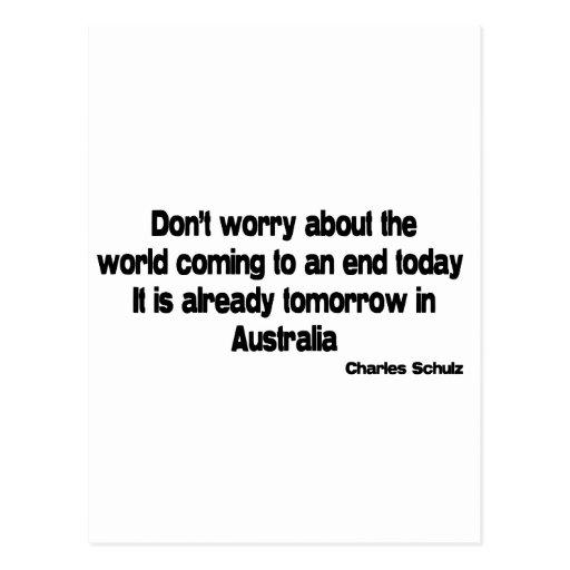Tomorrow in Australia quote Postcard
