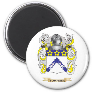 Tompkins Family Crest (Coat of Arms) 6 Cm Round Magnet