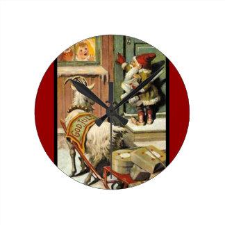 Tomte Nisse, aka Santa Clause Round Clock