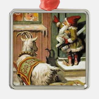 Tomte Nisse, aka Santa Clause Silver-Colored Square Decoration