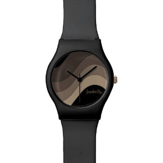 Tonal Wave Taupe Striped Personalized Watch