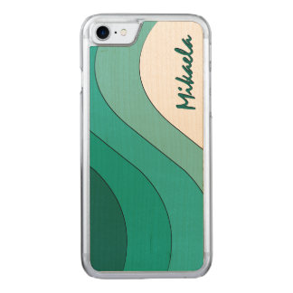 Tonal Wave Teal Striped Carved iPhone 7 Case