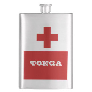 Tonga Island Flag Red Cross Hip Flask