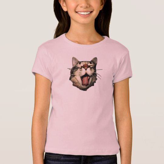 Tongue Out Cat tshirts Teen Girl Pink Funny Tee