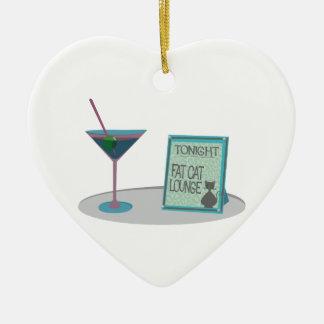 Tonight Fat Cat Lounge Ceramic Heart Decoration