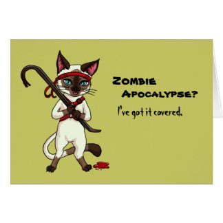 Tonkinese cat with crowbar zombie slayer halloween greeting card