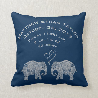 Tons of Love Baby Boy Birth Record Stats Elephant Cushion