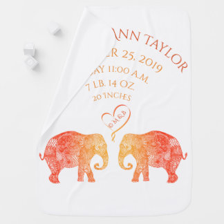 Tons of Love Baby Girl Birth Record Stats Elephant Baby Blanket