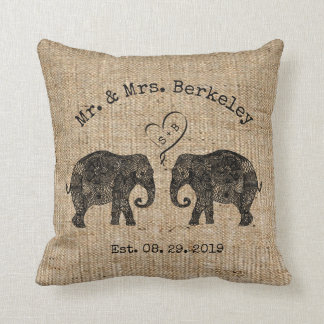 TONS OF LOVE | Elephant Couple Custom Wedding Gift Cushion