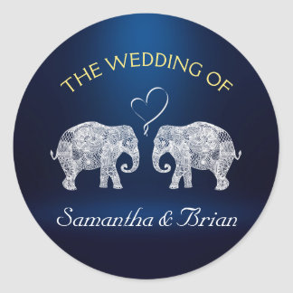 TONS OF LOVE | Elephant Night Light Wedding Custom Classic Round Sticker