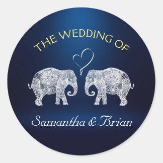 TONS OF LOVE | Elephant Night Light Wedding Custom Round Sticker