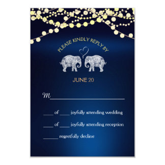 TONS OF LOVE/Elephant Night Lights Wedding RSVP Card
