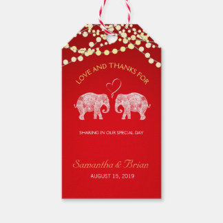TONS OF LOVE/Elephant String Lights Wedding Custom Gift Tags